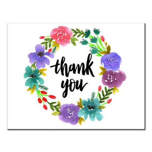 Thank You - Floral Purple Wreath