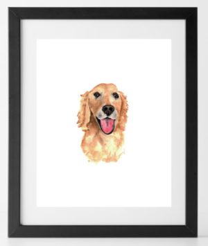 8x10 Golden Retriever Print Dog