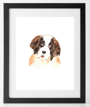 8x10 Brown and White Pup Dog Print