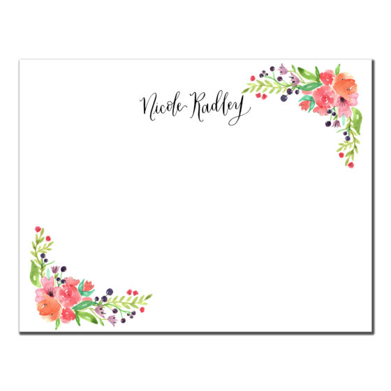 floral corner custom stationery