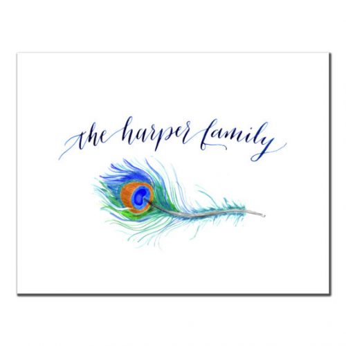 peacock feather custom stationery monogram personalized