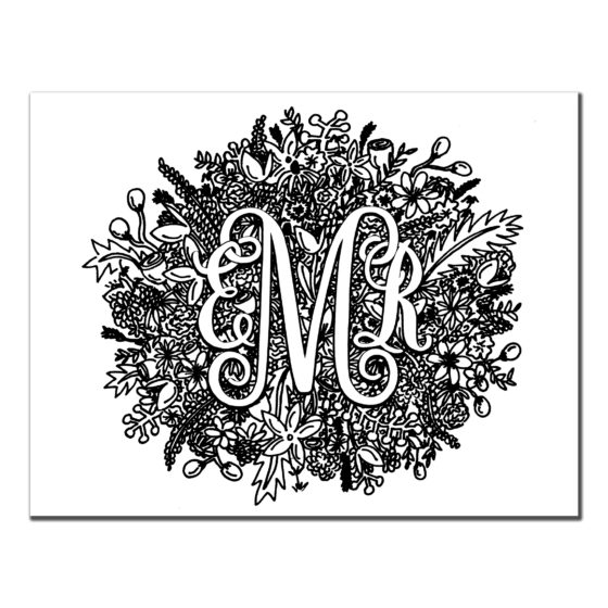 Detailed Black and White Custom Monogrammed Stationery