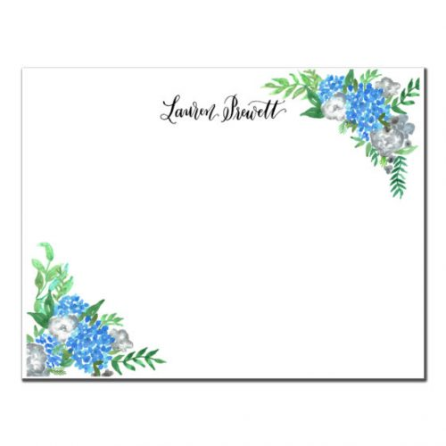 Flat Stationery blue flowers floral