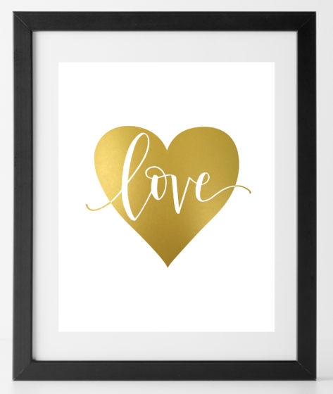 Heart Love Gold Print
