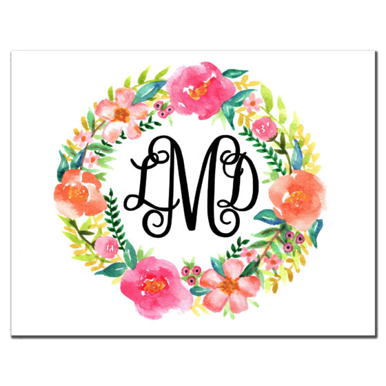 floral wreath custom stationery