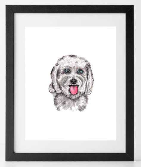 8x10 White Pup Print Dog